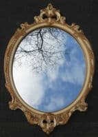 Oval Carved Gilt Hanging Wall Mirror